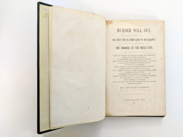 "Old book open to the title page, which reads ""Murder Will Out!..."""