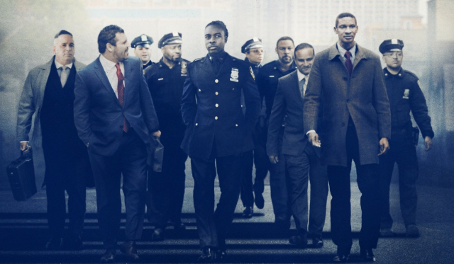 Men in suits and police officer uniforms walking
