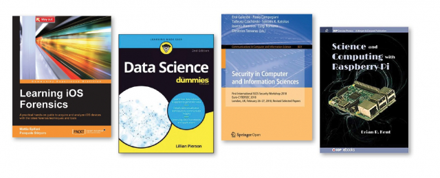 Four book covers: Learning iOS Forensics, Data Science for Dummies, ...