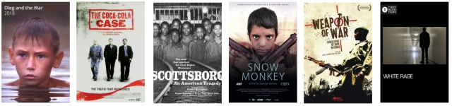 tilte screens from six Film Platform documentaries