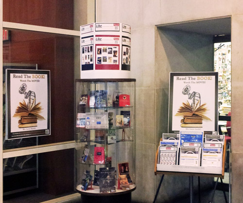 Books and movie library exhibit