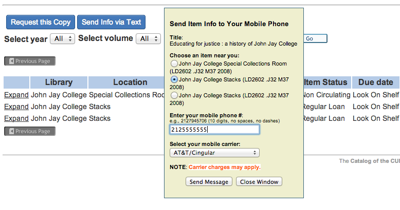 CUNY+ SMS form