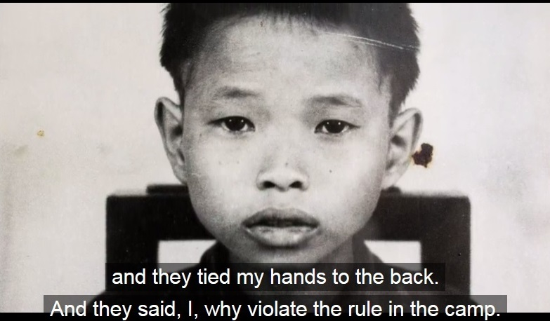 "A young boy with the caption, ""and they tied my hands to the back. And they said, I, why violate the rule in the camp."""