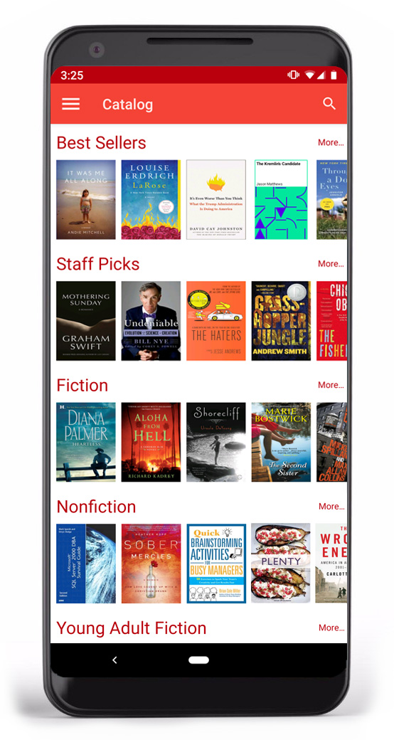 Smartphone displaying SimplyE, with Bestsellers and Staff picks book lists