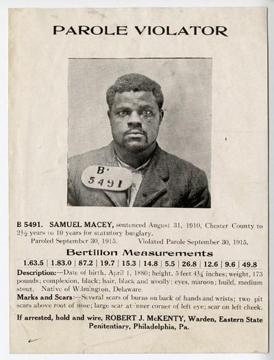 Parole Violator, B 5491. Samuel Macey