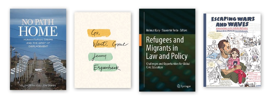 Book covers of books about refugees