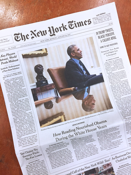 Front page of New York Times, January 16, 2017 — photo of President Obama