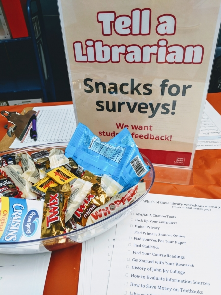 Snacks for Surveys sign, with candy and papers