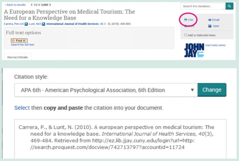 Cite button in grey box with email option. Popup of citation style choice