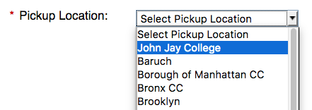 Pickup location: John Jay College, Baruch, Borough of Manhattan CC, ...