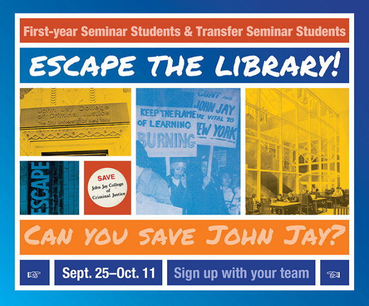 Event flyer: First-year seminar students and transfer seminars... Escape the library!