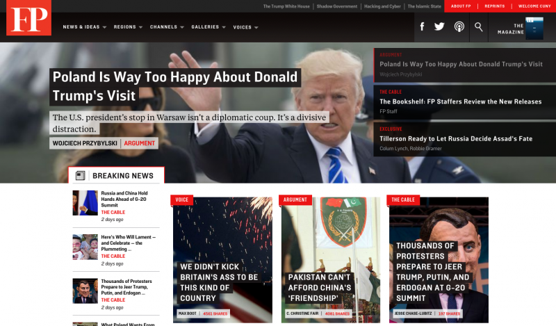 Screenshot of FP website: top article is about Trump's visit to Poland