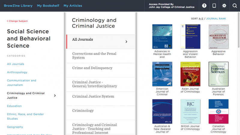 Screenshot of social science and behavioral science journal selection