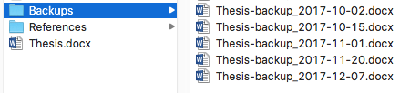 Backups folder containing five versions of a thesis