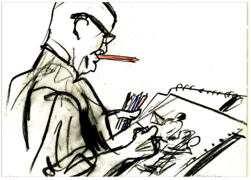 By Richard Tomlinson. An artist making a drawing in court.