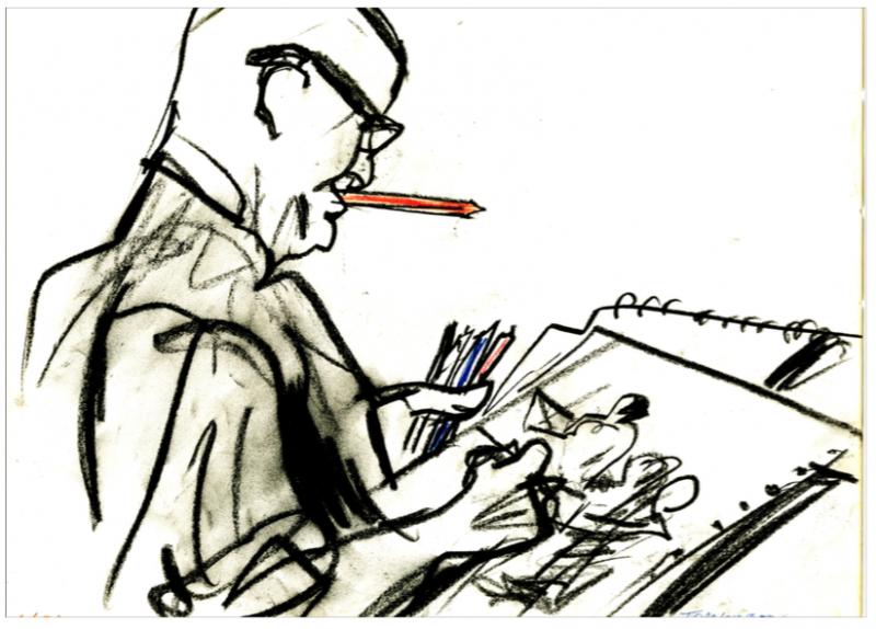 Sketch of a courtroom artist